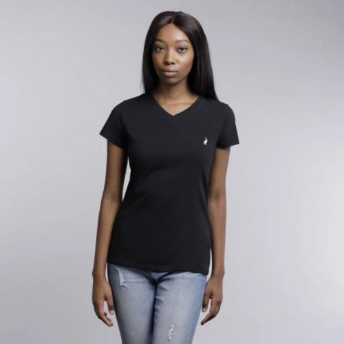 lds kelly ss vneck stretch tee black0648es