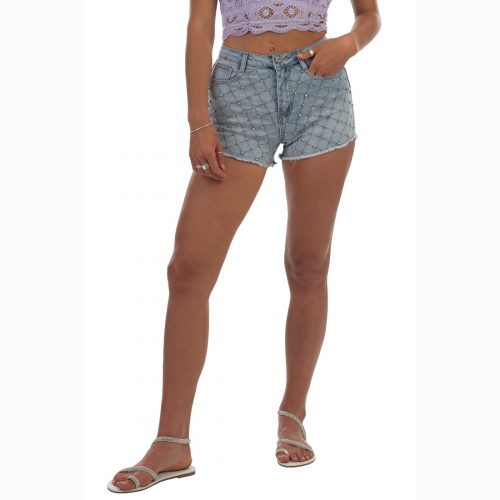 ice baby high waist denim shorts with all over bling detail 4