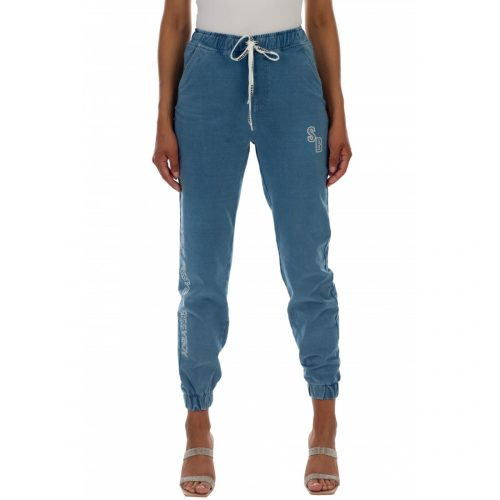 lady leisure athleisure knit denim track pants