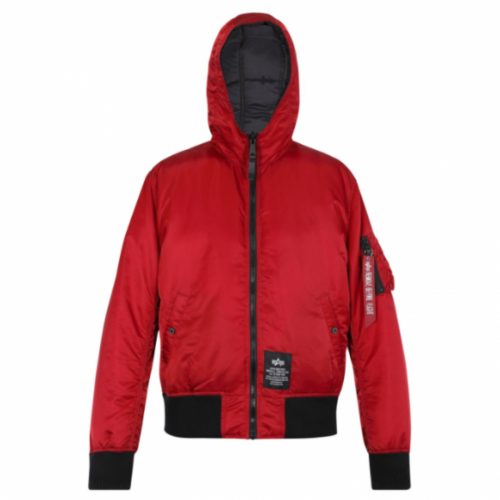 ALPHA INDUSTRIES HOODED PUFFER FD REV RBF RED