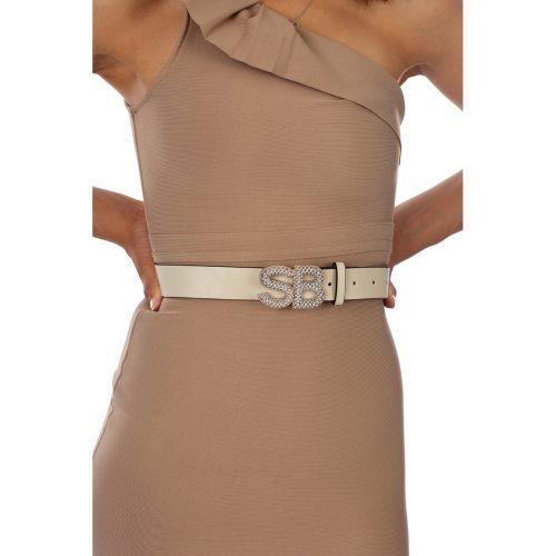 BE26126 Bling belt in cream R299 FRNT 69116126