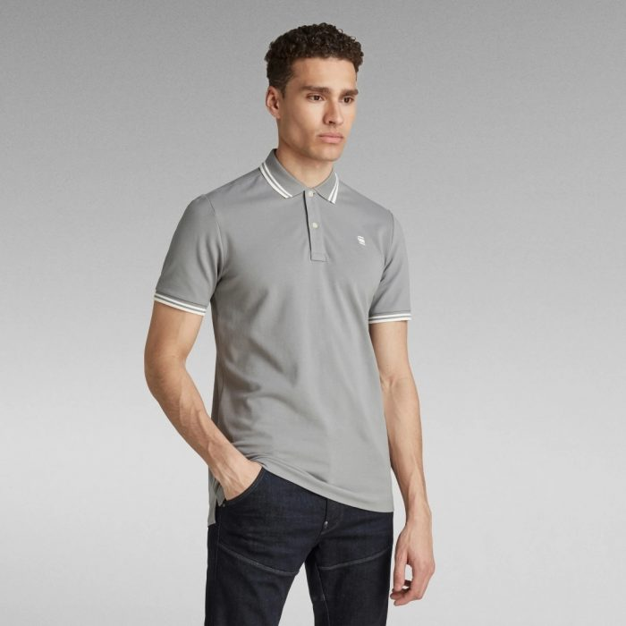 G STAR RAW DUNDA SLIM STRIPE POLO CHARCOAL 11