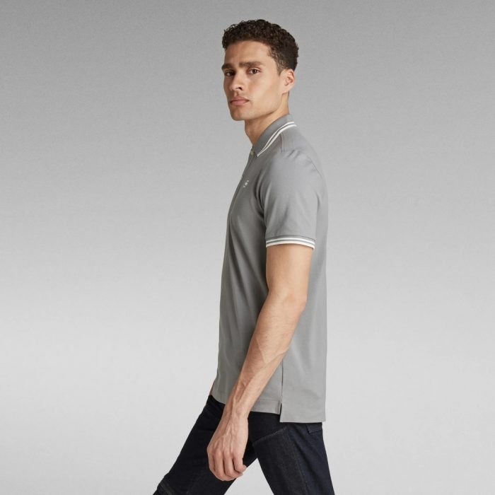 G STAR RAW DUNDA SLIM STRIPE POLO CHARCOAL 12