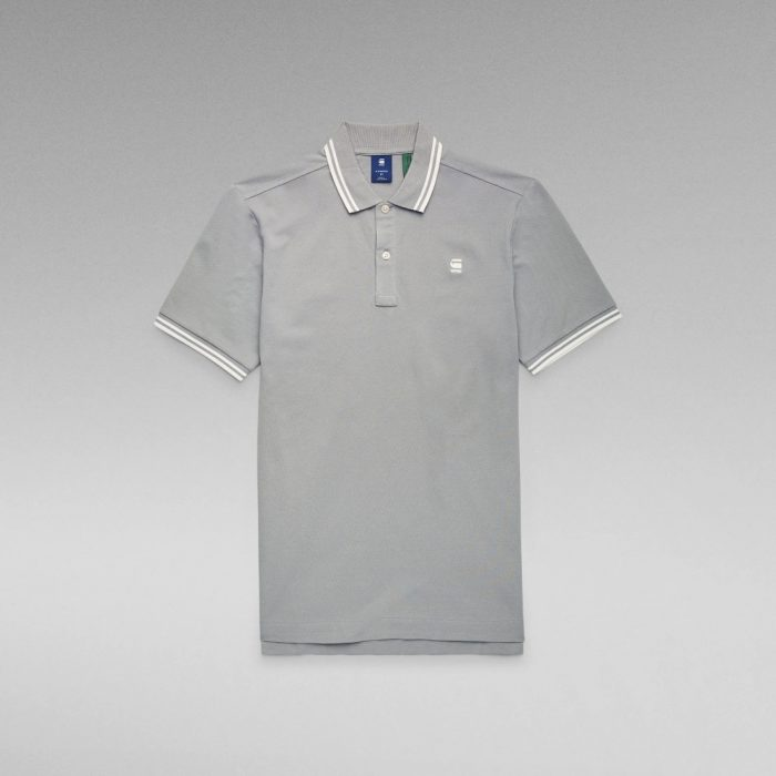 G STAR RAW DUNDA SLIM STRIPE POLO CHARCOAL 2