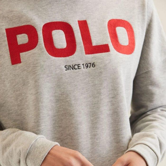 POLO LDS ASHTON LS LOGO SWEATER GREY MELANGE 5