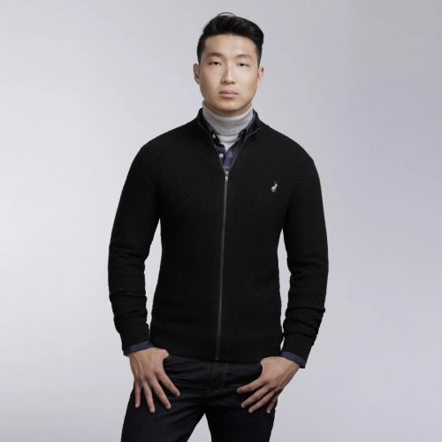 POLO MENS LUIZ ZIP THRU BLCK 2