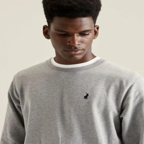 POLO MNS AAKIL CREW NECK SWEATER GREY MELANGEE 8 1
