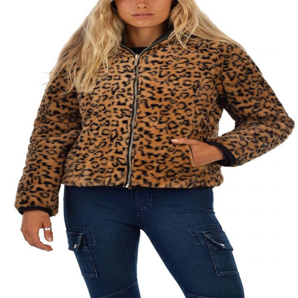 bano reversible animal print and faux fur puffer jacket