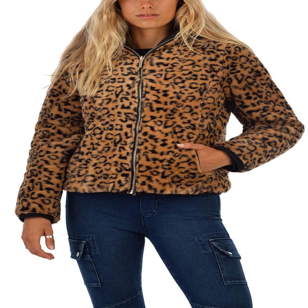 bano reversible animal print and faux fur puffer jacket