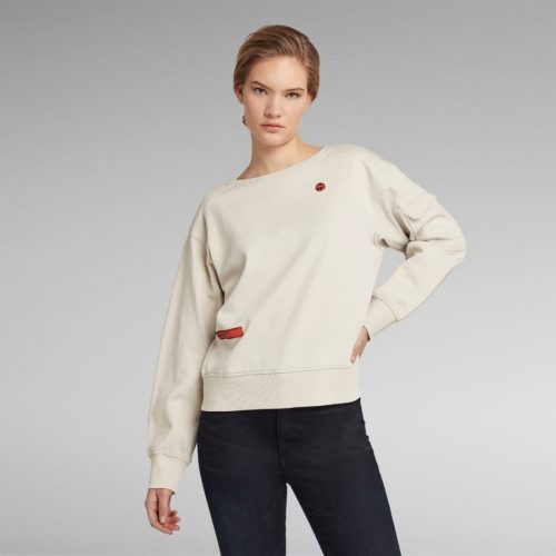 G STAR RAW BOAT NECK LS SWEATER WHITE BAIT