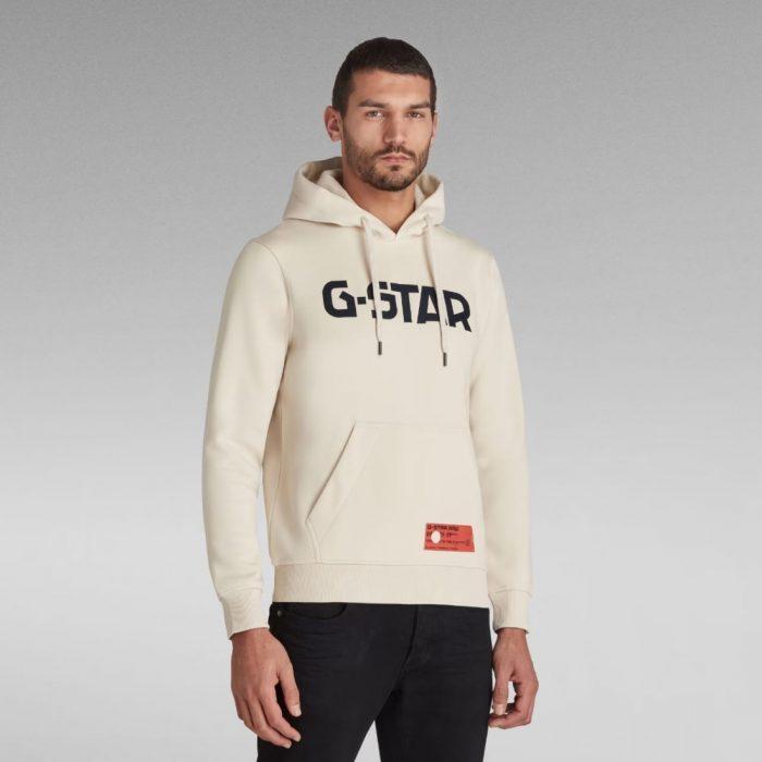 G STAR RAW HDD HOODIE LS WHITEBAIT 1