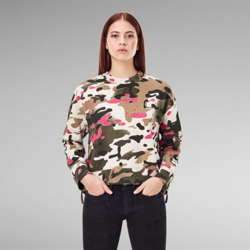 G STAR RAW LOOSE FIT CAMO ALL OVER SWEATER