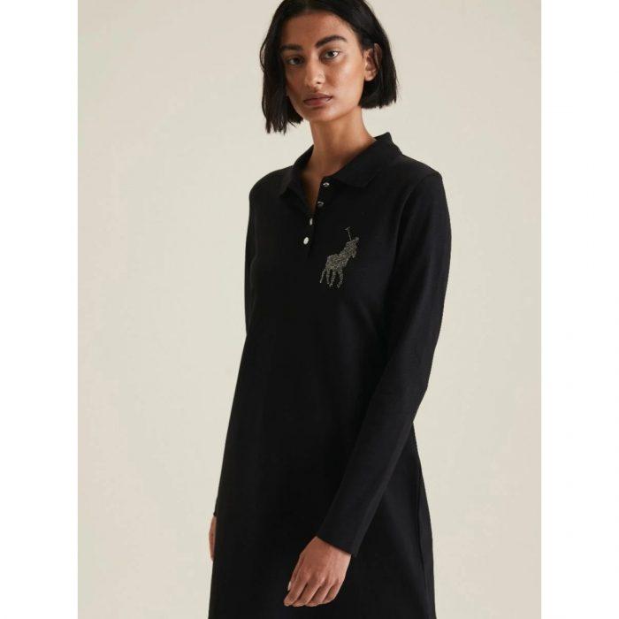 POLO RENNI EXCLUSIVE LDS RHINESTONE GOLFER DRESS BLACK.webp4