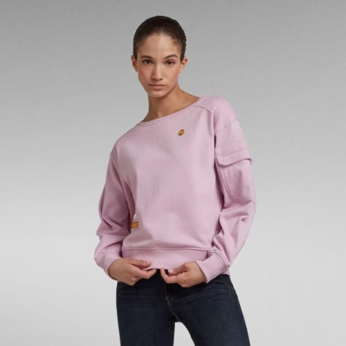 G STAR RAW BOAT NECK SWEATER LAVENDER PINK