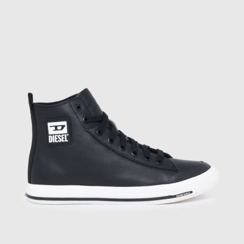 DIESEL S ASTICO MID CUT BLACK SMOOTH LEATHER 1
