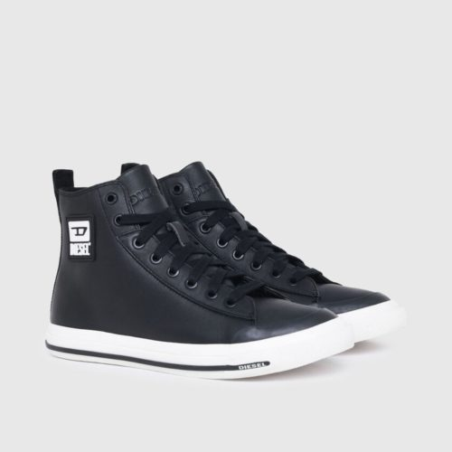 DIESEL S ASTICO MID CUT BLACK SMOOTH LEATHER 2