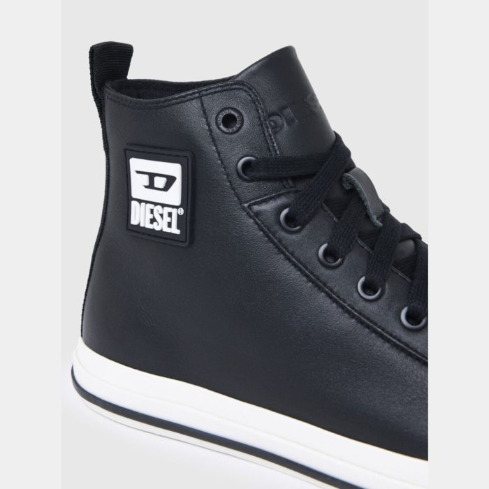 DIESEL S ASTICO MID CUT BLACK SMOOTH LEATHER 4