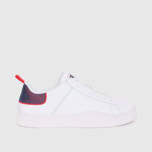 DIESEL S CLEVER LOW LACE LEATHER WHITE HOLOGRAPHIC RED BACK 2